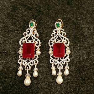 Jewelry - American Diamond and pearl dangles earrings new
